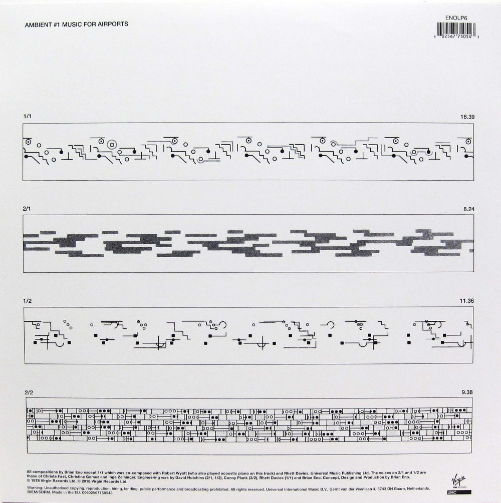 Brian Eno, Music for Airports released in 1978 / republished in 2018