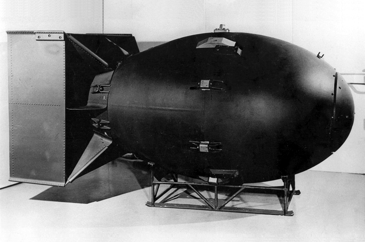 Fat Man plutonium bomb being readied at Tinian in the Pacific. Source: Los Alamos National Laboratory.